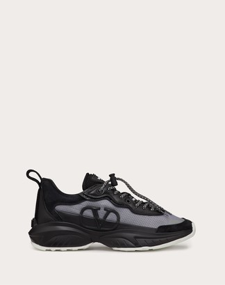 Valentino Shegoes Sneaker In Split Leather And Mesh Technical Fabric Women Grey 100% Poliammide 35.5