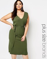 Club L Plus Essentials Maxi Dress In Rib With Tie Waist