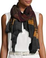 Salvatore Ferragamo Odessa Patterned Wool Scarf, Black/Bordeaux