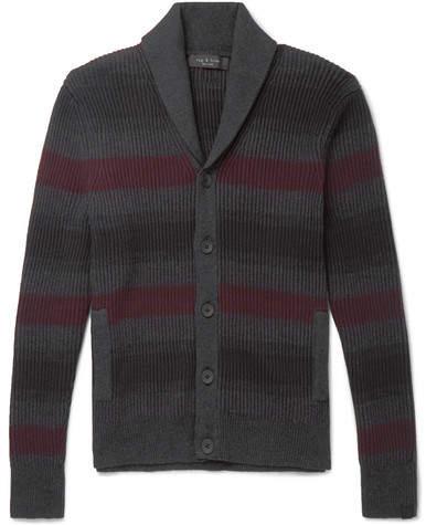 Rag & Bone Shawl-Collar Striped Ribbed Cotton And Cashmere-Blend Cardigan