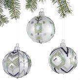 Crate & Barrel Set of 3 Ikat Winter White Ball Ornaments