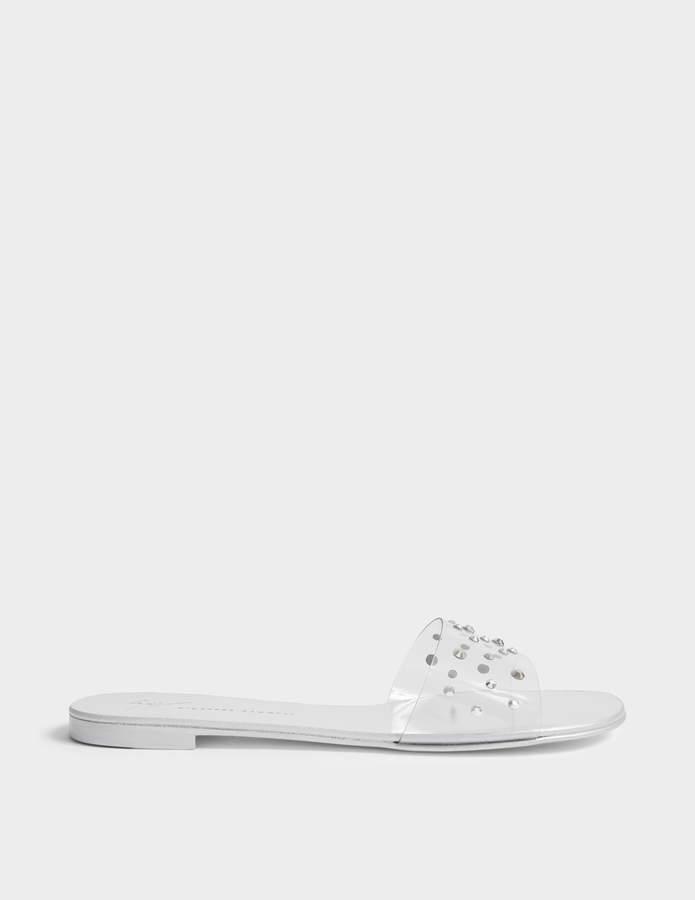 Giuseppe Zanotti Perspex and Diamonte Slide Shoes in Silver PVC