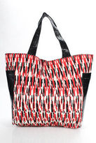 Beirn Red Multi-Color Ikat Canvas Snakeskin Contrast Tote Handbag New With Tags