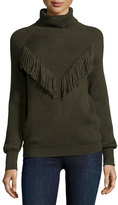 Haute Hippie Ribbed Turtleneck with Fringe, Military