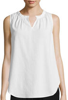 Liz Claiborne Sleeveless Ruffle Blouse - Tall