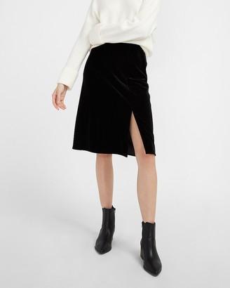Express High Waisted Velvet Slip Skirt