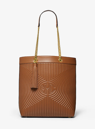 Michael Kors Monogramme Quilted Leather Chain Tote Bag - Luggage Brown
