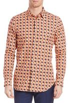 Paul Smith Peach Printed Long Sleeve Shirt