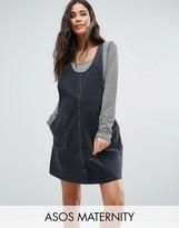 Asos Denim Pinafore Dress In Washed Black