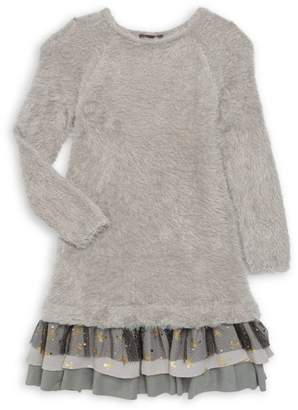 Imoga Little Girl's & Girl's Boucle Knit & Sparkly Mesh Shift Dress