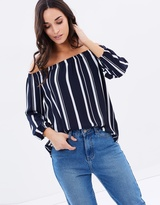 Wallis Stripe Off-the-Shoulder Top