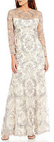 Tadashi Shoji Embroidered Lace Long Sleeve Mermaid Gown