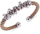 Charriol Women's Tango Bronze PVD Stainless Steel with White Topaz Stones Cable Bangle Bracelet