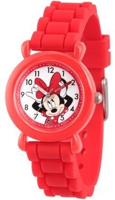 Disney Minnie Mouse Girls' Red Plastic Time Teacher Watch, Red Silicone Strap