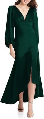 Lovely Teagan Long Sleeve Charmeuse High/Low Dress