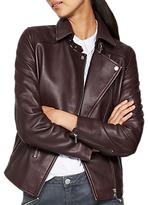 Mint Velvet Bordeaux Leather Zip Biker Jacket