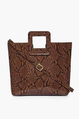 STAUD Shirley Leather Bag | Caramel Snake Embossed