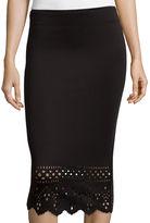Bisou Bisou Laser-cut Slit-Back Scuba Skirt