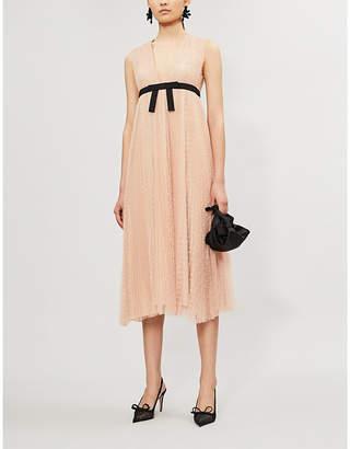 RED Valentino Dotted Pleated Sleeveless Mesh Midi Dress