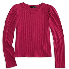 Aqua Girls' Puff Sleeve Rib Knit Top - Big Kid