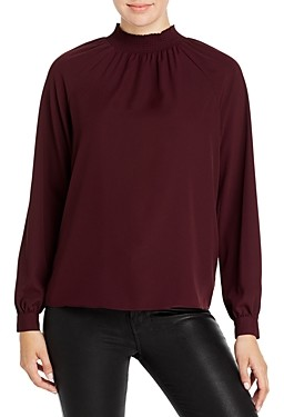 T Tahari Long Sleeve Mock Neck Blouse