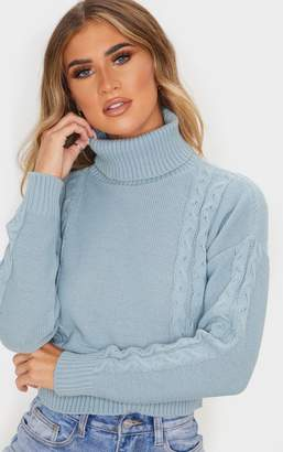PrettyLittleThing Stone Cable Detail Cropped Jumper