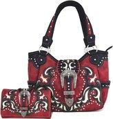 Western Cowgirl Concealed Carry Country Belts Buckle Purse Handbag Messenger Shoulder Bag Wallet Set