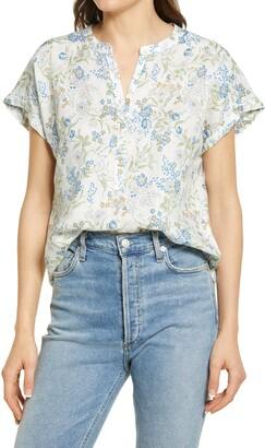 Faherty Desmond Floral Short Sleeve Linen Blouse