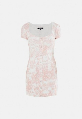 Missguided Pink Porcelain Print Stretch Denim Mini Dress