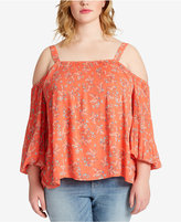 Jessica Simpson Trendy Plus Size Printed Cold-Shoulder Top