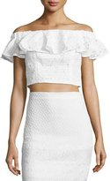 Rebecca Taylor Off-the-Shoulder Lace Cropped Top, Snow