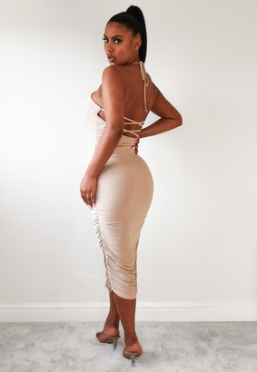 Missguided Taupe Slinky Lace Up Halter Ruched Midaxi Dress