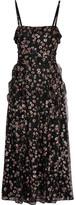 Valentino Ruffled Glittered Silk-georgette Midi Dress - Black
