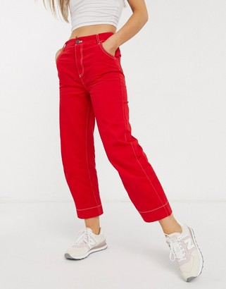 NATIVE YOUTH slim pants in red