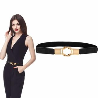 Satinior Women's Skinny Elastic Waist Belt Retro Ladies Waist Belt for Women Girls Accessories Black