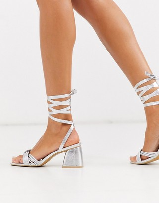 Glamorous block heeled sandals with ankle tie in silver