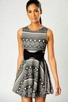 Mischa Aztec Print Skater Dress with Bow