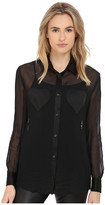Love Moschino Sheer Long Sleeve Blouse w/ Heart Chest Detail