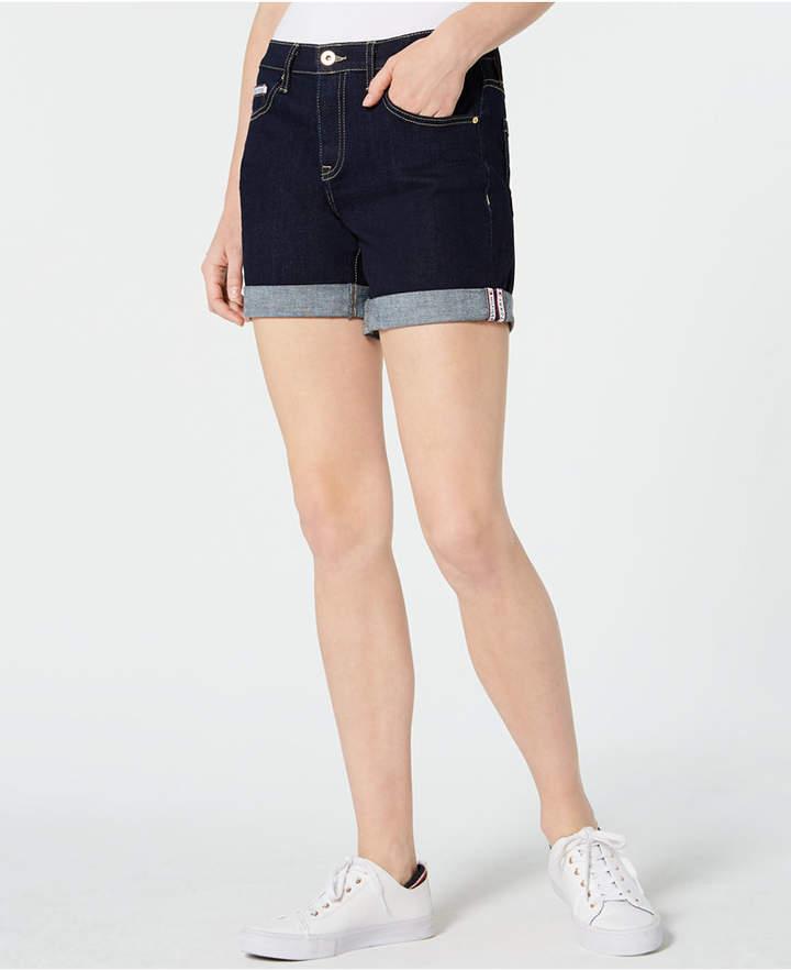 Tommy Hilfiger Womens Denim Cuffed Shorts White 14 at Amazon