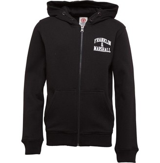 Franklin & Marshall Junior Boys Badge Logo Zip Hoodie Black