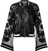 Aviu sheer sleeves bomber jacket - women - Silk/Leather/Polyester/Spandex/Elastane - L