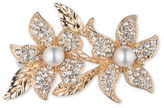 Cezanne 7MM White Round Freshwater Pearls and Crystals Double Leaf Boxed Pin
