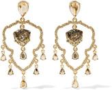 Oscar de la Renta Shield gold-tone crystal clip earrings