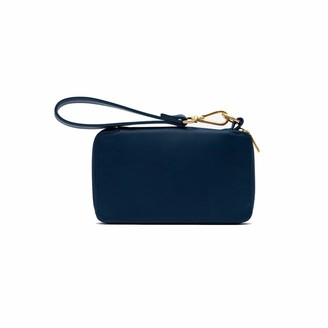 Holly & Tanager Champion Zip Around Leather Wallet In Navy