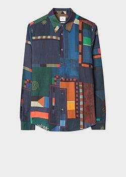 Men's Tailored-Fit 'Flag' Print Cotton-Linen Shirt