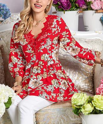 Suzanne Betro Women's Tunics 101POPPY - Poppy Red Floral Lace Trim V-Neck Tunic - Women & Plus