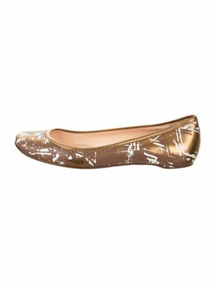 Christian Louboutin Leather Square-Toe Flats Brown