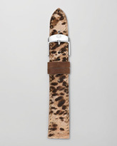 Michele 16mm Cheetah-Print Calf Hair Strap, Brown