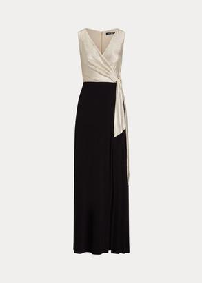 Ralph Lauren Surplice Metallic-Bodice Gown