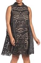 Vince Camuto Plus Size Women's Geo Burnout Trapeze Dress